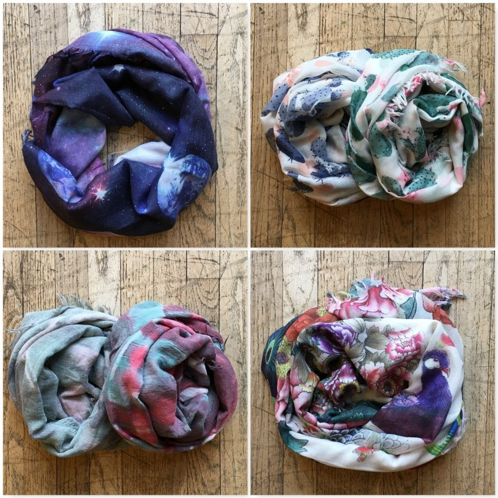 Spring scarf collage.